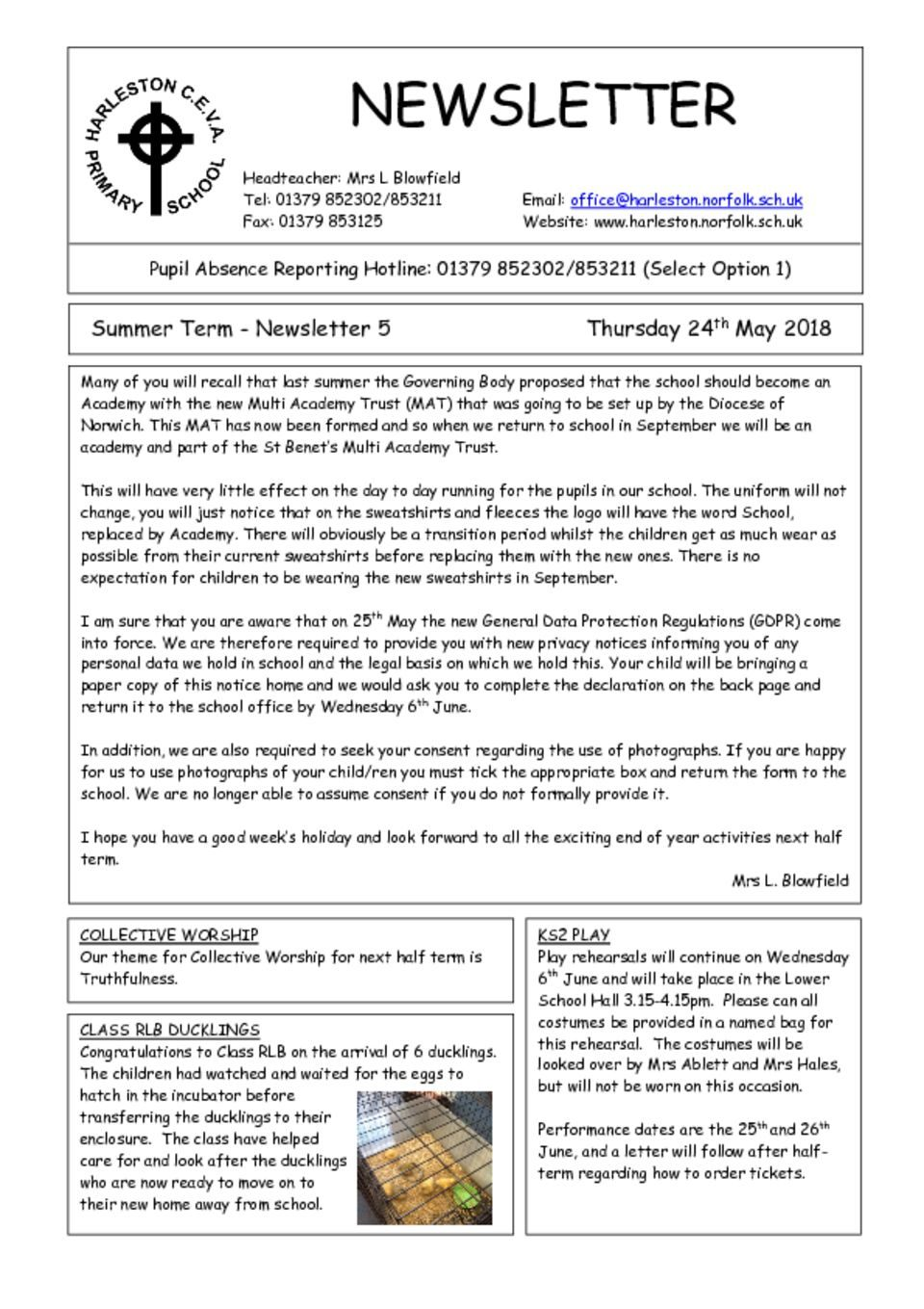 thumbnail of Newsletter 5 – 24 May 2018